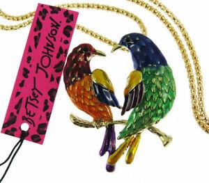 Betsey Johnson fashion Cute Enamel crystal Love bird Pendant Sweater Necklace B