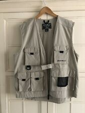 Eddie Bauer-100% Cotton-Khaki-Cargo-Photographer/Fishing Vest-zipper-Sz.M
