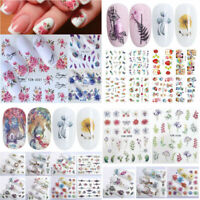 5 Sheet 3D Watercolor Flowers Unicorn Nail Art Stickers Transfer Decals Tips DIY