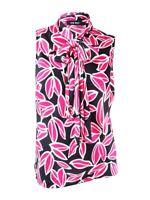 Nine West Women's  Plus Size Floral Tie Neck Blouse 1X, Black/Pink Multi