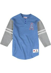 Mitchell Ness Houston Oilers Henley T-Shirt Sz Large Blue Gray Embroidered Logo