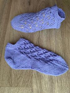 Hand knitted Ladies Snicker socks 100% PURE Merino WOOL Brand New UK7-8 EU41-42