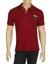 NEW GUCCI MEN'S CURRENT BURGUNDY STRETCH COTTON WEB CREST POLO SHIRT L/LARGE