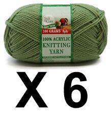 Knitting wool 6 x 100g acrylic yarn 8ply Army Green 100% Brand New