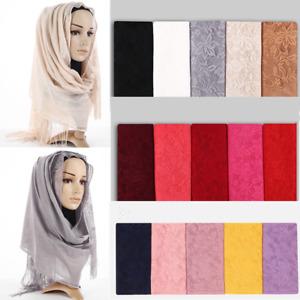 Women Solid Color Hijab Lace Islamic Muslim Head Scarf Wrap Girls Shawl Turban