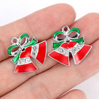 10Pcs Christmas Red Jingle Bells Crystal Charm Pendant DIY Bracelet Making Craft