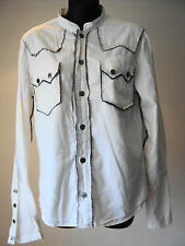"AllSaints Rock Shirt - White Cotton L/Sleeved Collarless - size S - 36"" chest"