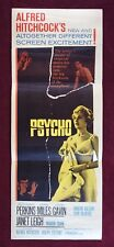 PSYCHO * ORIGINAL MOVIE POSTER 1960 RARE INSERT HITCHCOCK HALLOWEEN HORROR