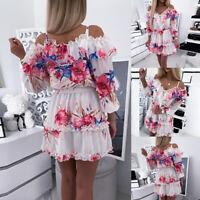 ❤️ Womens Ladies Floral Print Dress Ruffled Dresses Boho Summer Beach Mini Dress