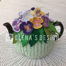NEW  Handmade Tea Cozy  Pansies Green Base From Ukrainian Designer