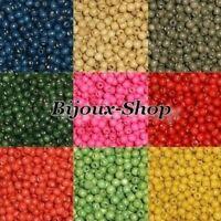 100 Perles Bois  6mm, Plusieurs coloris de disponible