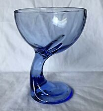 Bormioli Rocco Jerba Blue Glass Dessert Cup Goblet Italy Curved Stem Replacement