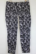 JANE NORMAN black white monochrome geometric skinny cigarette trousers size 10