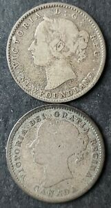 1858 Canada and 1896 Newfoundland 10 Cents Silver Coins