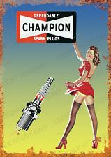More details for champion spark plug metal advert sign vintage garage workshop shed plaque