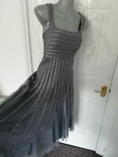 ❤ JACQUES VERT Size 12 Grey Dusky Lilac Spot Mesh Ribbon Occasion Dress Lined