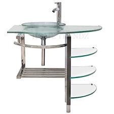 36 in Bathroom Glass bowl clear vessel Sink & wood Vanity w shelfs/ Faucet 51