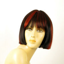 perruque femme 100% cheveux naturel courte méchée noir/rouge ELISA 1b410