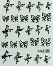Nail Art Water Decals Spotted Leopard Print Bows BLE1036