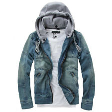 Removable Hoodie UK Men Denim Coats Loose Outwear Classic Jean Casual Jacket 2xl