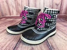 Sorel Tivoli Womens 8 / 40 Black White Houndstooth Duck Waterproof Boots D1o