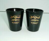 Lot of 2 Black Jack Daniel's Whiskey Shot Glasses Gold Lettering vtg
