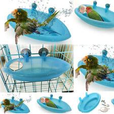 1x  Pet Bird Bath  Feeder Bird bath with mirror Blue Outdoor /Indoor