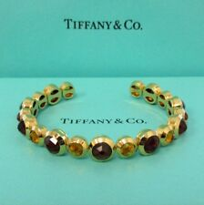 TIFFANY & Co. 18K Gold Citrine Garnet Line Cuff Bangle Bracelet $9,500 New