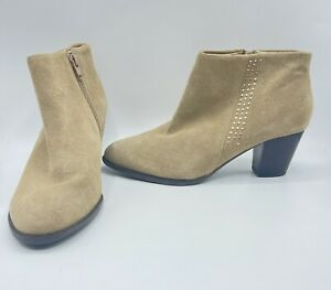 New Without Box Vionic Georgia Oat Suede Ankle Boots Size 8.5 M  $139 Studded