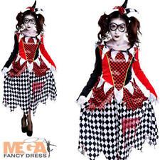 Scary Harlequin Ladies Fancy Dress Halloween Horror Joker Womens Adults Costume