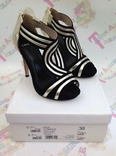 BNIB CARVELA WOMEN'S MASON GOLD BLACK OPEN TOE STILETTO HEELS 38 5 RRP £140