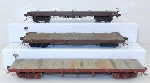 Sn3 Narrow Gauge LOT of 3 Undecorated FLAT CARS ~ T131D