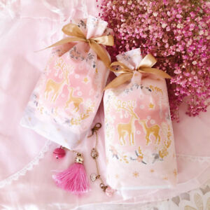 10-50X New Pink Christmas Reindeer Party Gift Drawstring Packing Stocking Bags
