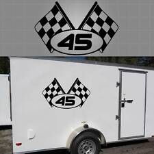 """Personalized Race Trailer Graphic. Racing Trailer Decal 34"""" x 22"""""""