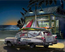 1959 Cadillac Hearse Art Print Painting ~ 59 Caddy at beach surf shop