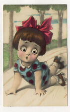 GOOGLE EYES ROLLER SKATING GIRL OLD POSTCARD THE EYES DO ROLL AROUND PC5437