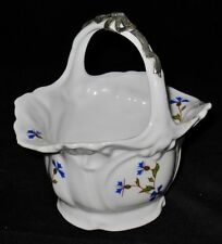 Porcelain Basket with Pewter Bow on Handle Marked CHANILL Paris P-96-A