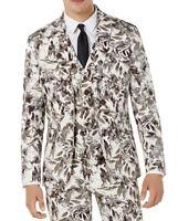 INC Mens Suit Jacket Taipe Beige Size 2XL Slim-Fit Printed 2-Button $129 116