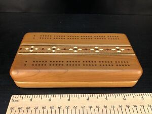 """2 Track Inlay 7"""" Cribbage Board With Cards Second Quality - Heartwood Creations"""