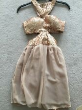 Rare London Gold Sequin Netted Cut Out Evening Dress Size 8