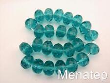 25 6 x 9 mm Czech Glass Gemstone Donut Beads: Light Teal