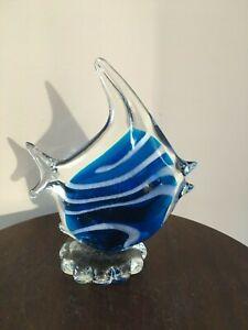 Art Glass Angel Fish Ornament Medium Size Cobalt/White & Clear