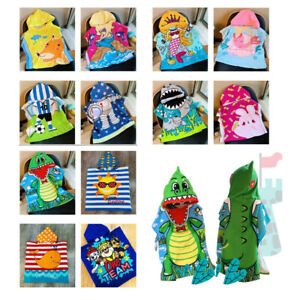 Kids Hooded Towel Boys Girls Poncho Beach Bath Cartoon Stamp Microfiber