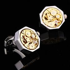 Silver Octagon Work Gold Watch Movement Cufflinks Clockwork Steampunk Vintage
