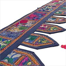 Indian Blue Toran Window Valance Door Hanging Embroidered Patchwork Wall Decor
