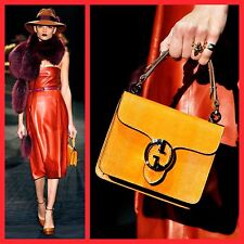 $3,250 GUCCI Very Rare 2012 Limited 1973 Orange Lizard Small Top Handle Flap Bag