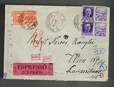 1943 Merano Italy censored Express Mail cover to Vienna Germany