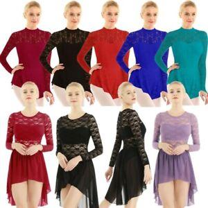 Women Adult Lace Ice Skating Dance Dress Contemporary Ballet Dance Leotard Dress