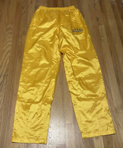 VTG FUBU Sports 05 Mens Yellow Track Pants Retro XL Zip Pockets Mesh Lined