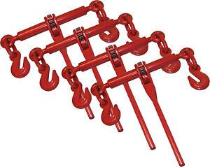 """4 Piece Ratchet Load Binder 3/8"""" 1/2"""" Chain Binders Tie Down"""